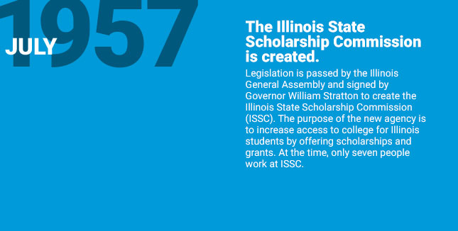 The Illinois State Scholarship Commission is created. Legislation is passed by the Illinois General Assembly and signed by Governor William Stratton to create the Illinois State Scholarship Commission (ISSC). The purpose of the new agency is to increase access to college for Illinois students by offering scholarships and grants. At the time, only seven people work at ISSC.