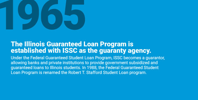 The Illinois Guaranteed Loan Program is established with ISSC as the guaranty agency. Under the Federal Guaranteed Student Loan Program, ISSC becomes a guarantor, allowing banks and private institutions to provide government subsidized and guaranteed loans to Illinois students. In 1988, the Federal Guaranteed Student Loan Program is renamed the Robert T. Stafford Student Loan program.