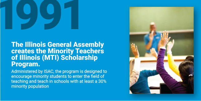 The Illinois General Assembly creates the Minority Teachers of Illinois (MTI) Scholarship Program. Administered by ISAC, the program is designed to encourage minority students to enter the field of teaching and teach in schools with at least a 30% minority population.