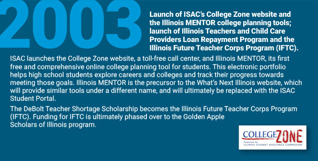 Launch of ISAC's College Zone website and the Illinois MENTOR college planning tools; launch of Illinois Teachers and Child Care Providers Loan Repayment Program and the Illinois Future Teacher Corps Program (IFTC). ISAC launches the College Zone website, a toll-free call center, and Illinois MENTOR, its first free and comprehensive online college planning tool for students. This electronic portfolio helps high school students explore careers and colleges and track their progress towards meeting those goals. Illinois MENTOR is the precursor to the What's Next Illinois website, which will provide similar tools under a different name, and will ultimately be replaced with the ISAC Student Portal. The DeBolt Teacher Shortage Scholarship becomes the Illinois Future Teacher Corps Program (IFTC). Funding for IFTC is ultimately phased over to the Golden Apple Scholars of Illinois program.