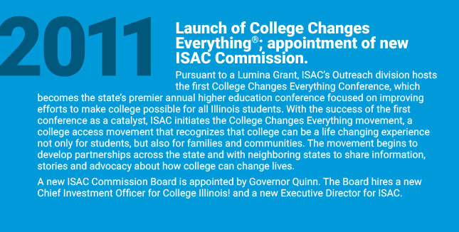 Launch of College Changes Everything®; appointment of new ISAC Commission. Pursuant to a Lumina Grant, ISAC's Outreach division hosts the first College Changes Everything® Conference, which becomes the state's premier annual higher education conference focused on improving efforts to make college possible for all Illinois students. With the success of the first conference as a catalyst, ISAC initiates the College Changes Everything® movement, a college access movement that recognizes that college can be a life changing experience not only for students, but also for families and communities. The movement begins to develop partnerships across the state and with neighboring states to share information, stories and advocacy about how college can change lives. Concerns about the stability of the College Illinois!® Prepaid Tuition Program and about investment decisions related to the Prepaid Tuition Fund lead Governor Quinn to appoint a new ISAC Commission Board. The board hires a new Chief Investment Officer and a new Executive Director for ISAC.